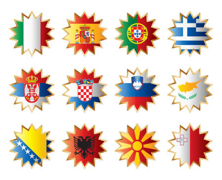Star flags South Europe. Separated layers with country name. Stock Vector - 8146465