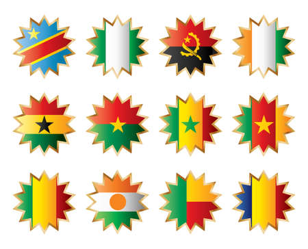 Star flags Africa one. Separated layers with country name. Vector