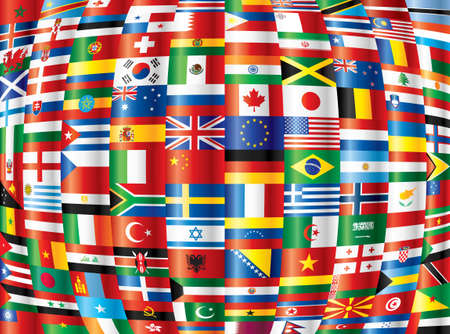 International. 130 country flags. Vector