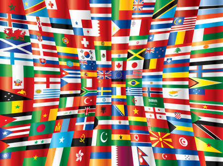 International glossy flags. 130 flags. Vector