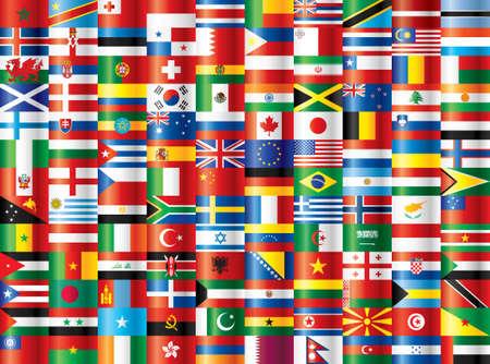 International flags. 130 flags. Vector