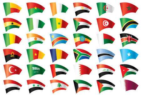 Moving flags set - Africa &amp, Middle East. 36 flags. Vector