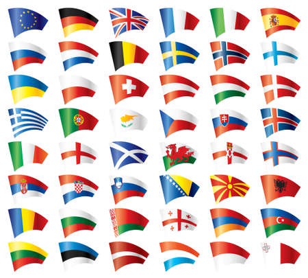 Moving flags set - Europe. 48 flags. Vector