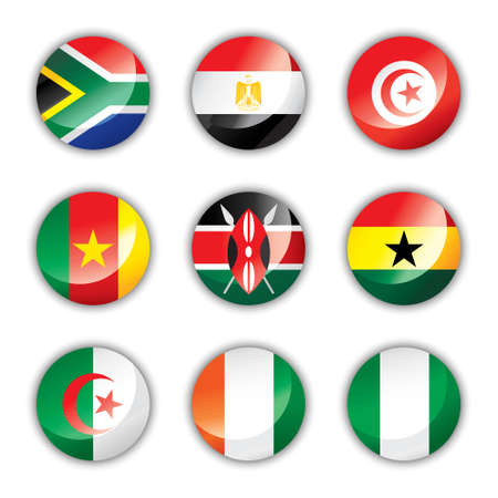 south african: Glossy button flags - Africa Illustration