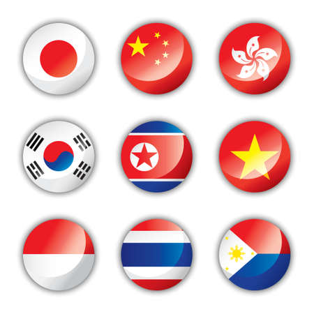 korea: Glossy button flags - Asia one