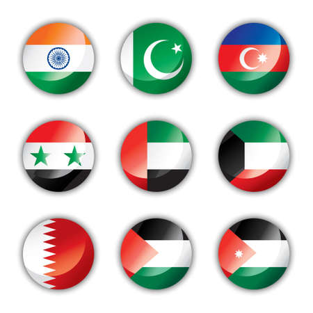 kuwait: Glossy button flags - Asia two Illustration
