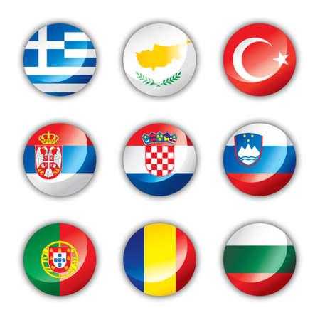 光沢のあるボタン フラグ - ヨーロッパ 4