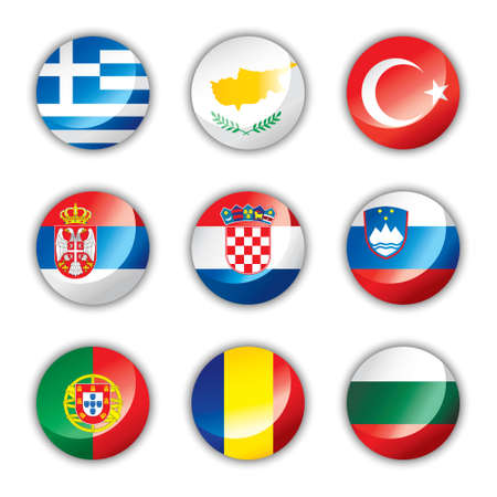 Glossy button flags - Europe four