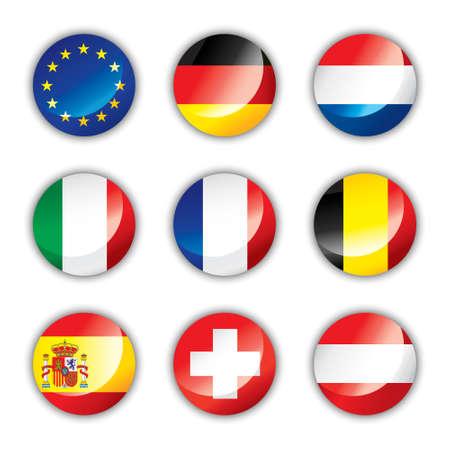 Glanzende knop vlaggen - Europa een  Vector Illustratie