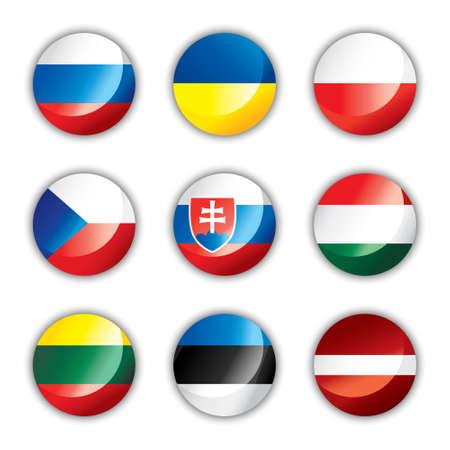 Botón brillante banderas - Europa tres  Ilustración de vector