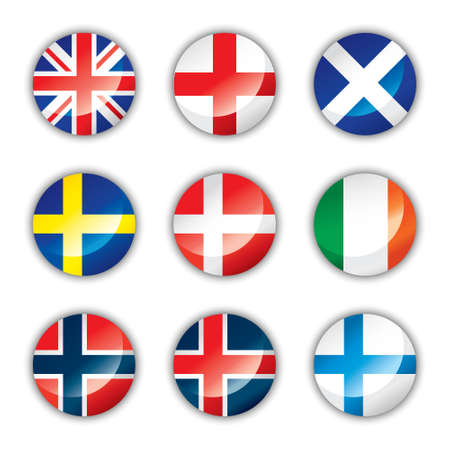sweden flag: Glossy button flags - Europe two