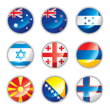 oceania: Glossy button flags - Mix Illustration
