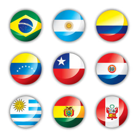 Glossy button flags - South America Vector