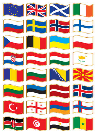 National flags set one Vector