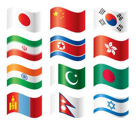 Wavy flags set - Asia