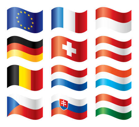 Wavy flags set - Central Europe Vector