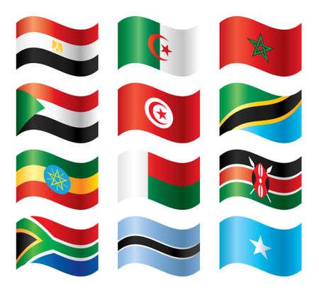 egypt flag: Conjunto de banderas ondulado - �frica meridional del norte & del este