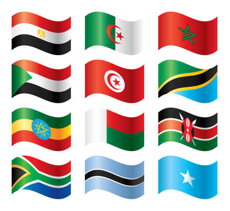 Wavy flags set - Eastern Northern & Southern Africa Vector