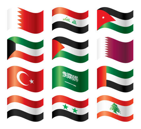 palestine: Wavy flags set - Middle East Asia Illustration