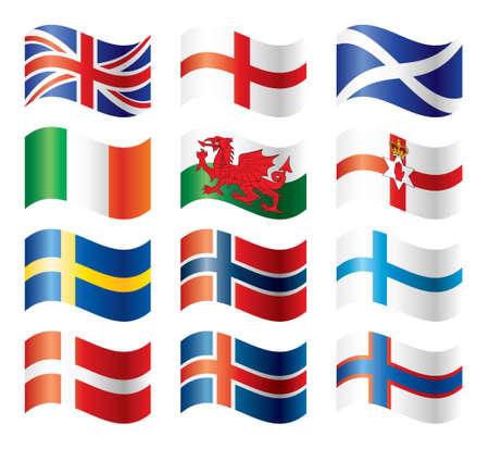 Ensemble de drapeaux ondulé - Europe du Nord  Vecteurs