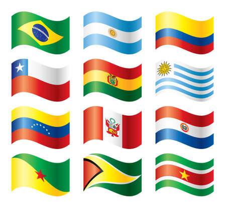 bandera de paraguay: Conjunto de banderas ondulado - Am�rica del sur  Vectores