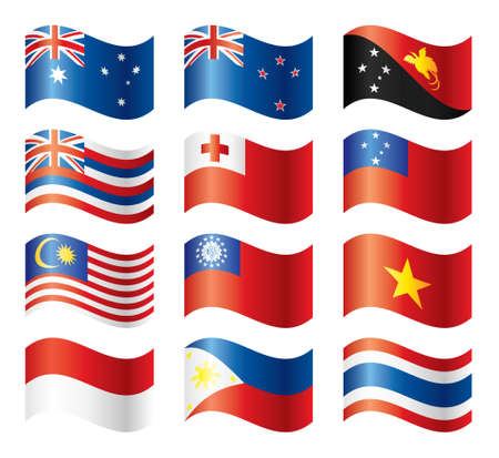 new zealand flag: Bandiere ondulate set - sud-est Asia & Oceania Vettoriali