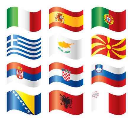 波状フラグ セット - 南ヨーロッパ  イラスト・ベクター素材
