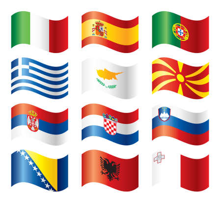 balkan: Wavy flags set - Southern Europe