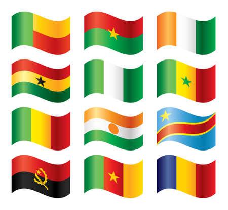 cameroon: Insieme di flag ondulata - Western & Motorola  Vettoriali