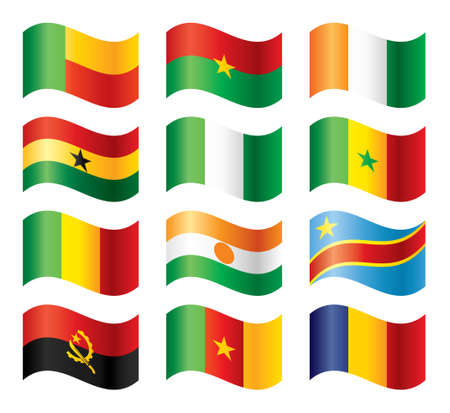angola: Wavy flags set - Western & Middle Africa