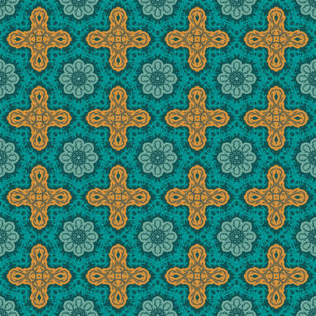 Turquoise floral pattern. Seamless  pattern. Vector