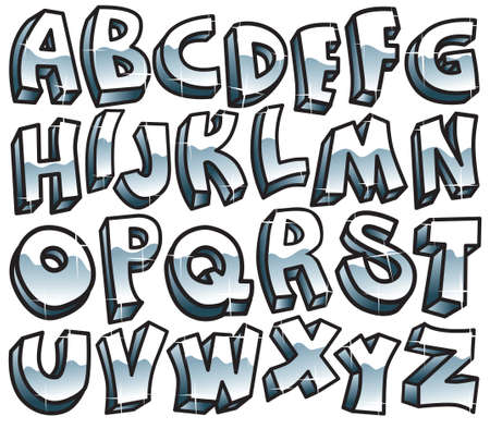 Retro metallic font Vector