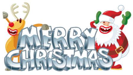 Rudolph and Santa xmas message Vector