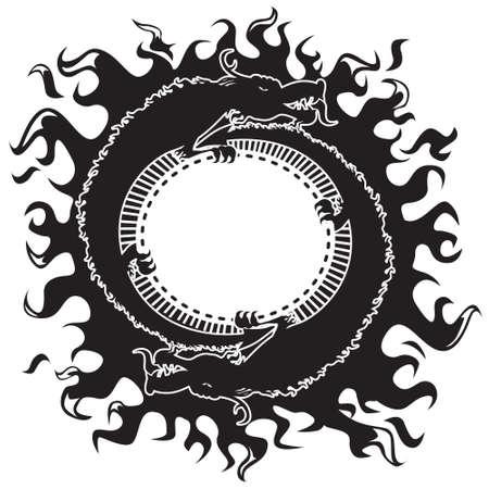 ring of fire: Dragons black & white Illustration