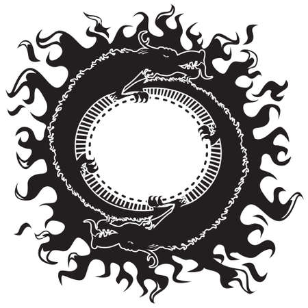 tatouage dragon: Dragons black & white Illustration