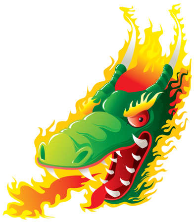 Dragon head on fire. Original   artwork inspired with traditional Chinese and Japanese dragon arts. Vector