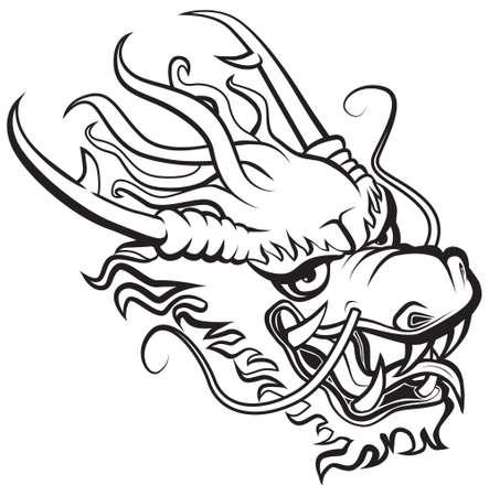 cabeza de dragon: Cabeza de drag�n. Ilustraci�n original inspirado con artes tradicionales de drag�n chino y japon�s.