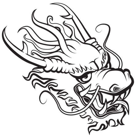 dragon tattoo design: Dragon head. Original artwork inspired with traditional Chinese and Japanese dragon arts.