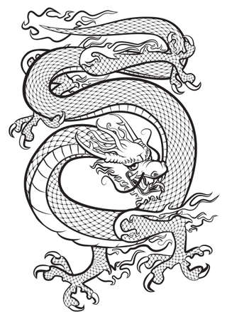 Dragon black and white. Original artwork inspired with traditional Chinese and Japanese dragon arts.