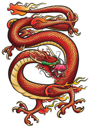 Big red Dragone. Original artwork inspired with traditional Chinese and Japanese dragon arts. Standard-Bild