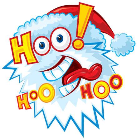 Hoo hoo hoo. Funny Santa  Vector Illustratie