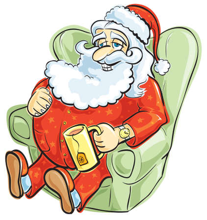 red couch: Santa resting in pajamas