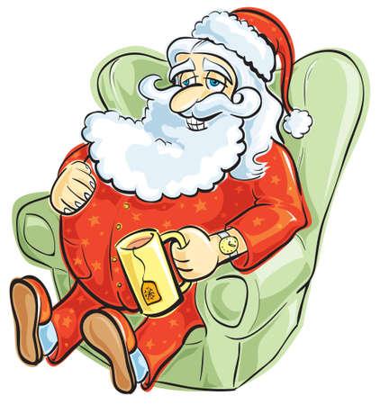 red couch: Santa riposa in pigiama