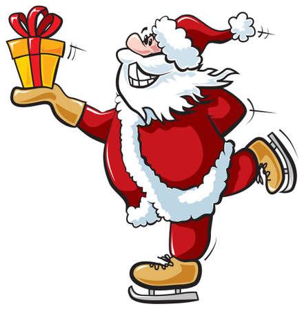 Skating Santa with gift Vector