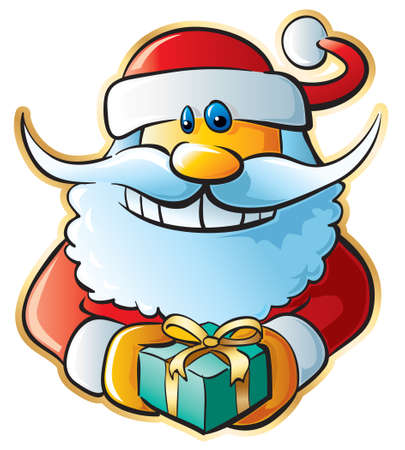 Santa with gift. Vector