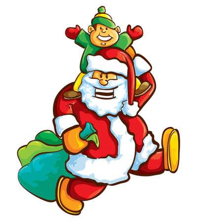 Santa and boy Vector