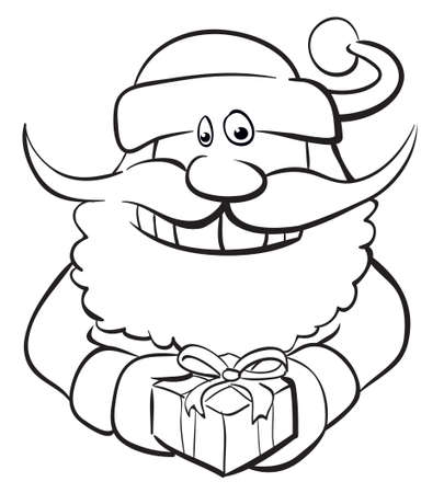 Santa with gift. Black and white, color me. Vector