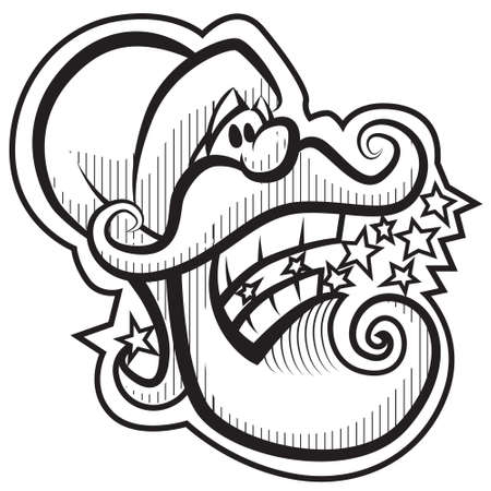 Santa Claus head. Black and white, color me. Vector
