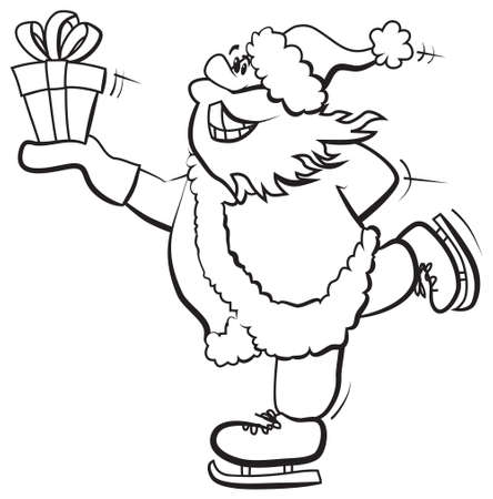 Skating Santa with gift. Black and white, color me. Vector