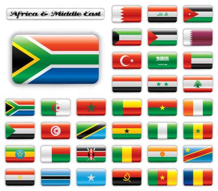 egypt flag: Banderas de bot�n extra brillante. Establecer el gran �frica & Oriente Medio. 36 De banderas de vector. Tama�o original del pabell�n de SAR incluido.